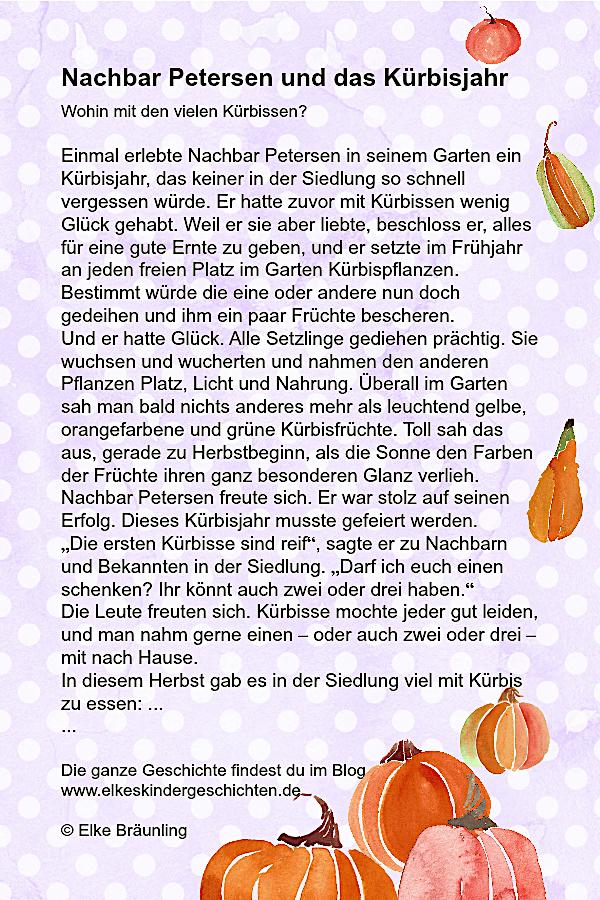 Nachbar Petersen und das Kürbisjahr   Herbstzeit