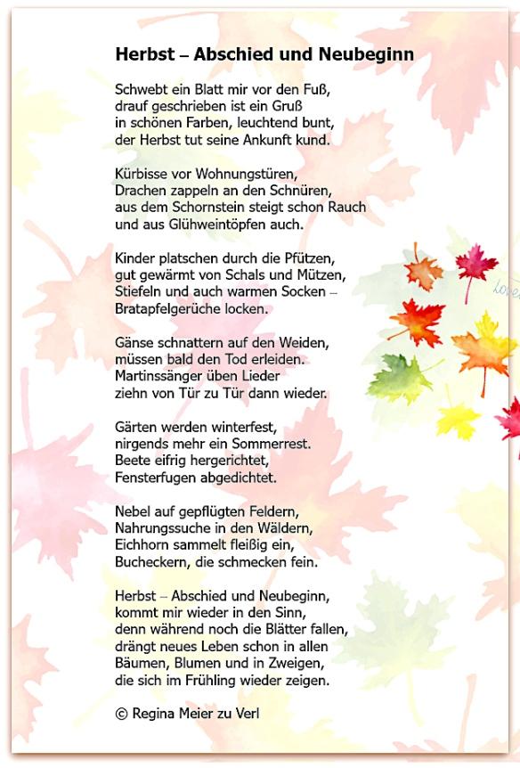 Herbst gedicht über Herbst